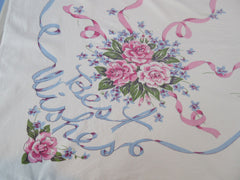 IMPERFECT Best Wishes Wedding Roses Novelty Vintage Printed Tablecloth (52 X 43)