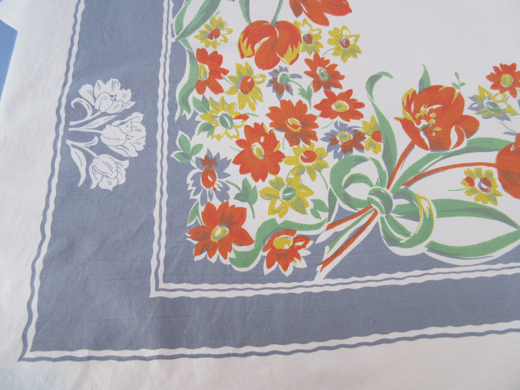 Giant Yellow Orange Tulips on Gray Floral Vintage Printed Tablecloth (80 X 65)