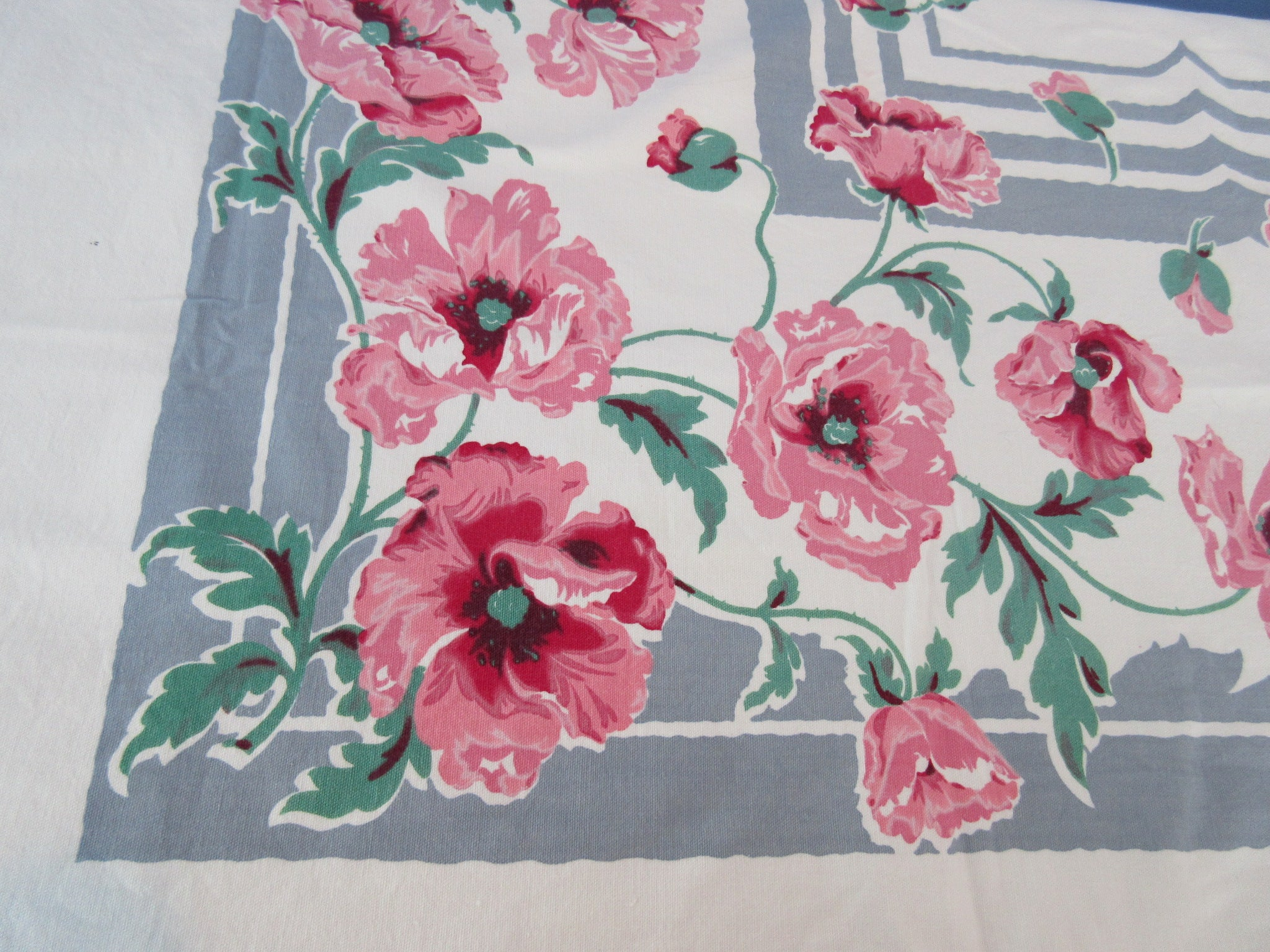 Giant Heavy Pink Poppies on Gray Floral Vintage Printed Tablecloth (92 X 59)