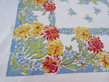Large Heavy Red Yellow Chrysanthemums on Blue Floral Vintage Printed Tablecloth (71 X 60)