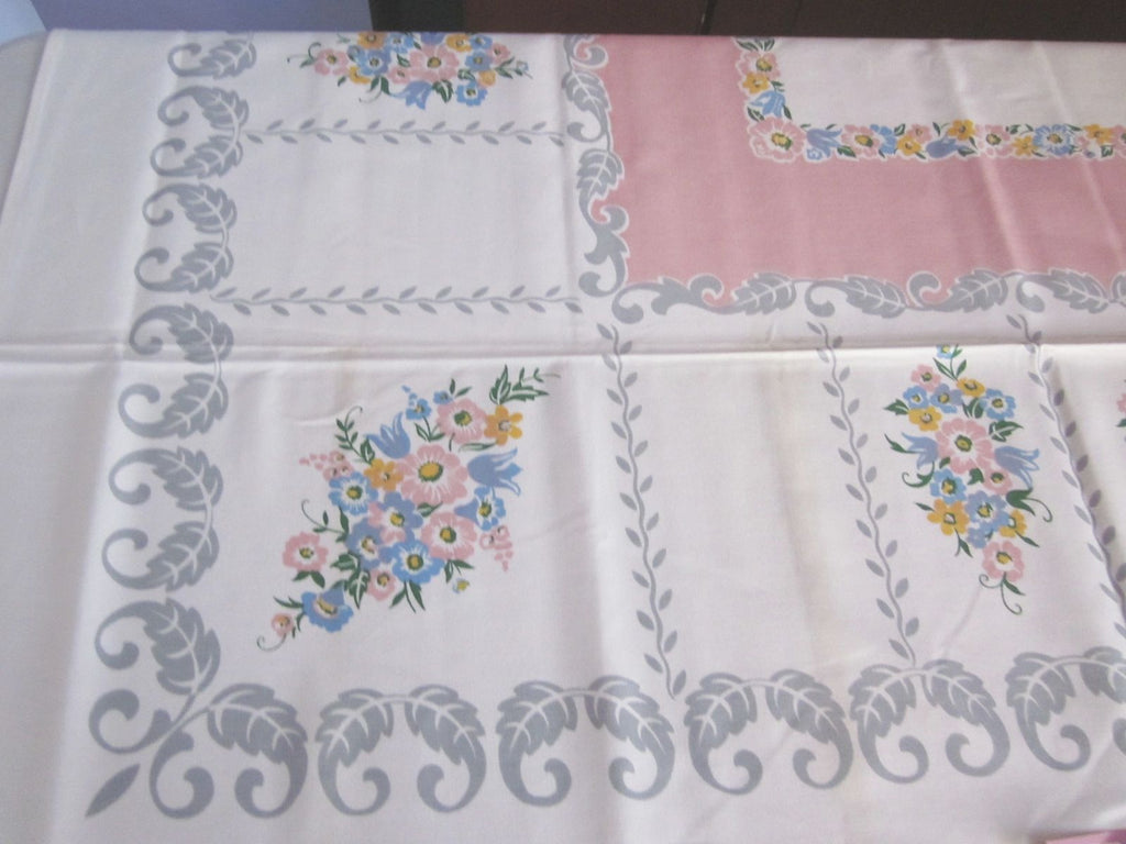 Pastel Pink Blue Gray Floral Scrolls MWT Vintage Printed Tablecloth (52 X 51)
