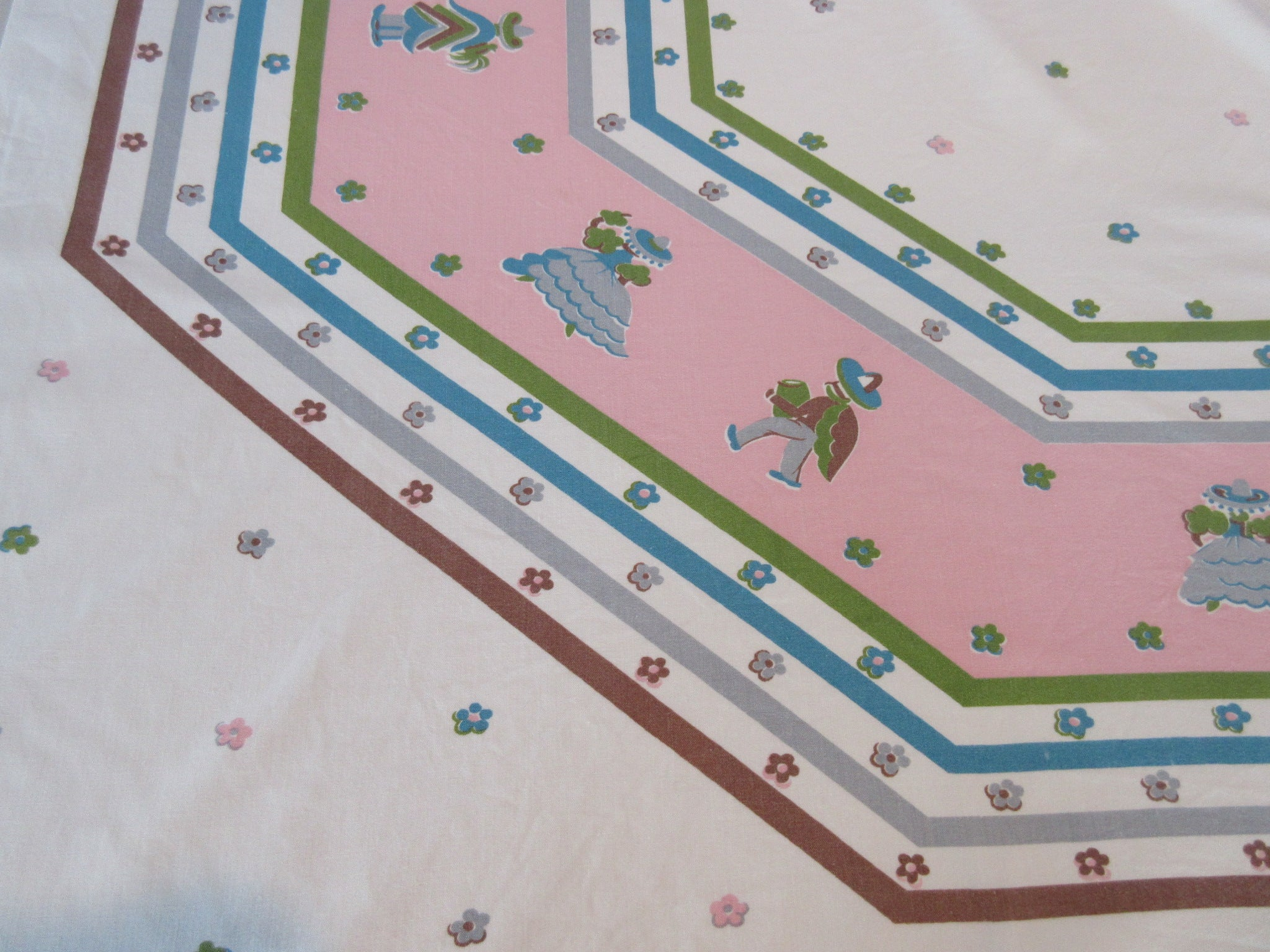 Unusual Pastel Mexican on Pink Novelty Vintage Printed Tablecloth (52 X 44)