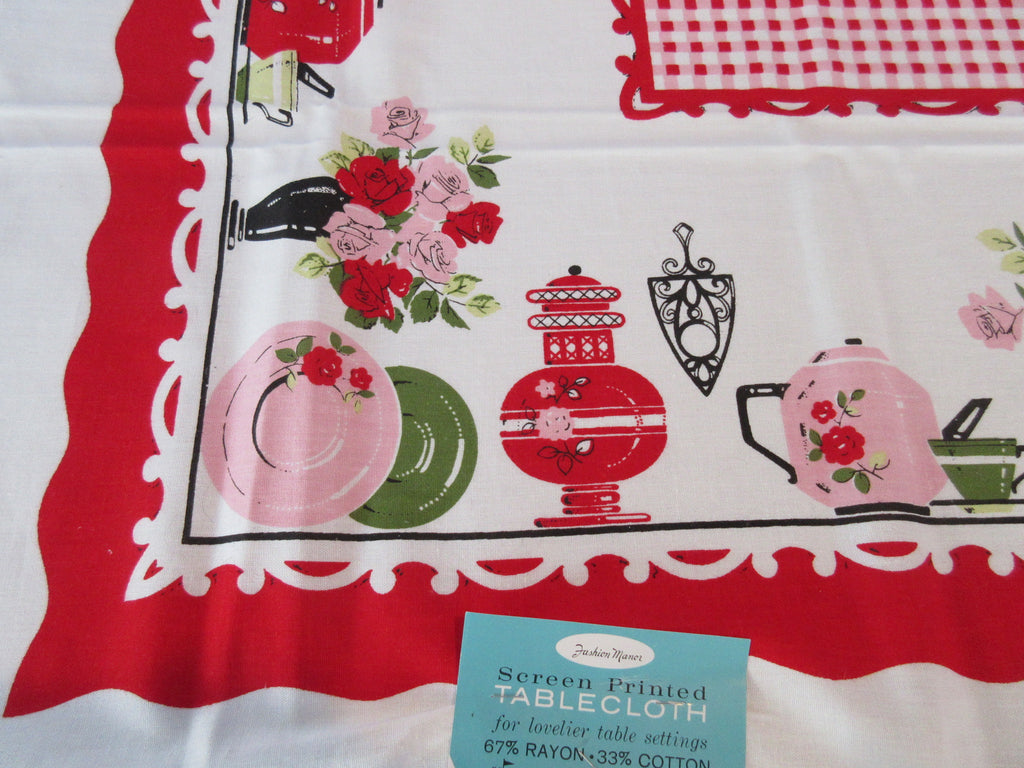 Gingham Tablecloth Tabletop Dishes on Red MWT Novelty Vintage Printed Tablecloth (51 X 50)
