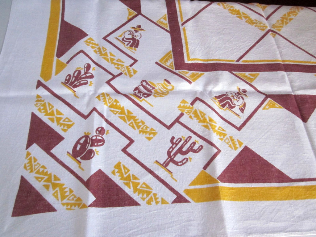 Brown Gold Mexican Cacti Cactus Linen Novelty Vintage Tablecloth (52 X 47)