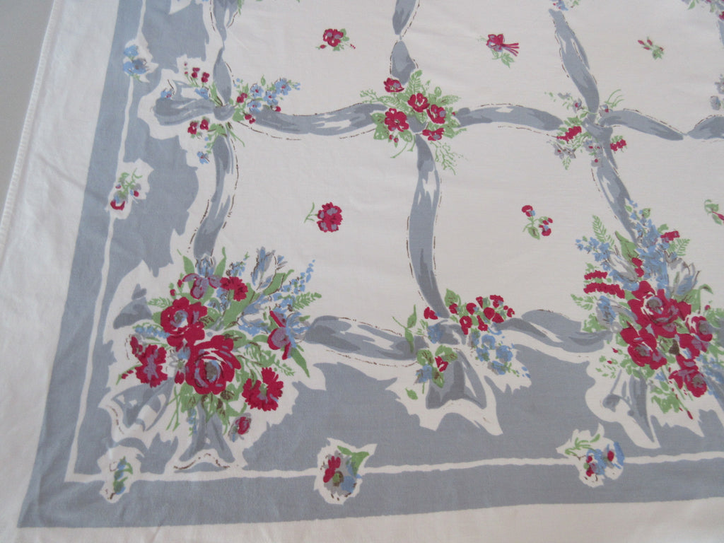 Shabby Red Green Roses on Ribbons Floral Vintage Printed Tablecloth (58 X 52)