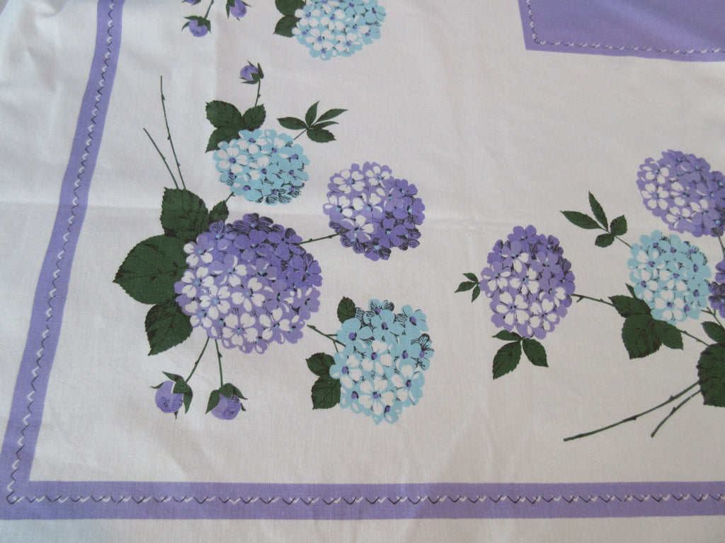Pastel Aqua Hydrangeas on Purple Floral Vintage Printed Tablecloth (65 X 53)