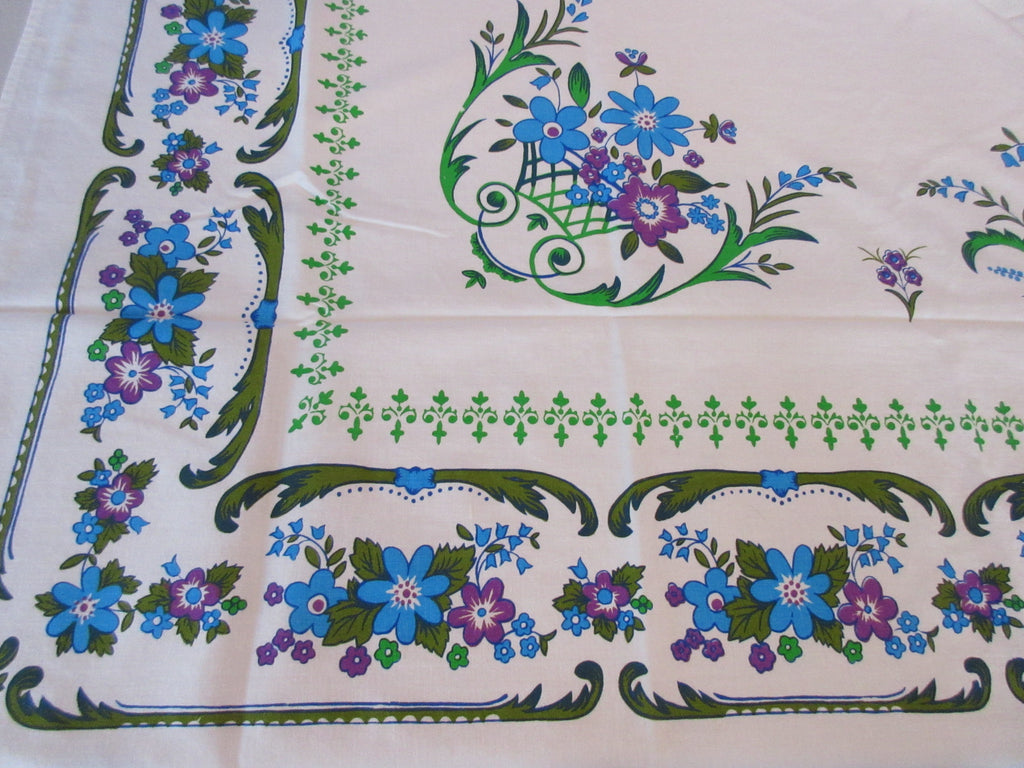 1960s Mod Olive Teal Purple Floral Vintage Printed Tablecloth (63 X 52)