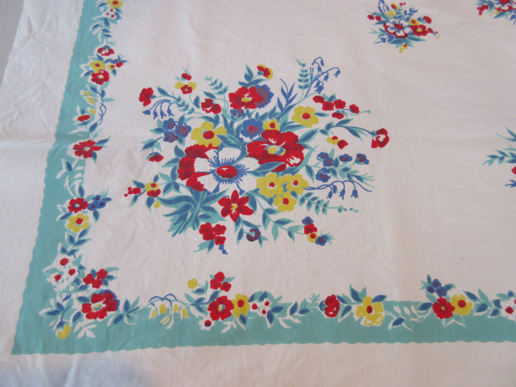 Primary Daisies on Nile Green Floral Vintage Printed Tablecloth (50 X 46)