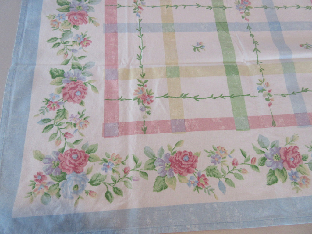 Pastel Pink Blue Green Plaid Floral Easter Vintage Printed Tablecloth (51 X 47)