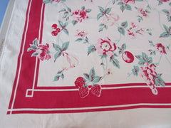 Shabby Pastel Fruit Flowers on Red Vintage Printed Tablecloth (62 X 49)