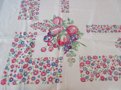 Pastel Red Fruit Flowers Linen Vintage Printed Tablecloth (51 X 50)