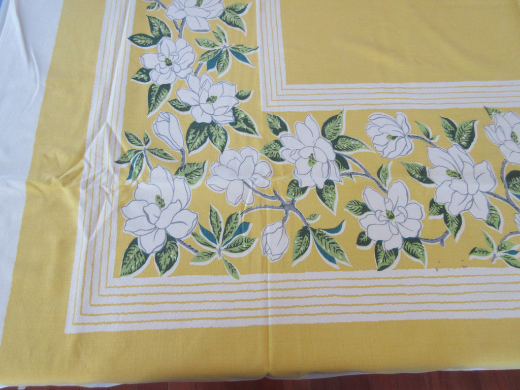 White Magnolias on Yellow Floral Vintage Printed Tablecloth (58 X 52)