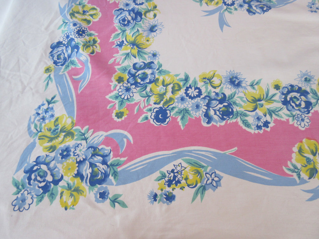 Heavy Blue Roses Ribbons on Pink Cutter? Floral Vintage Printed Tablecloth (79 X 54)