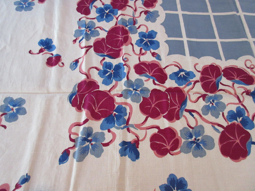 Unwashed Magenta Nasturtiums on Blue Linen Floral Vintage Printed Tablecloth (54 X 52)