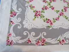 Pink Green Viola Diamonds on Gray Floral Vintage Printed Tablecloth (66 X 52)