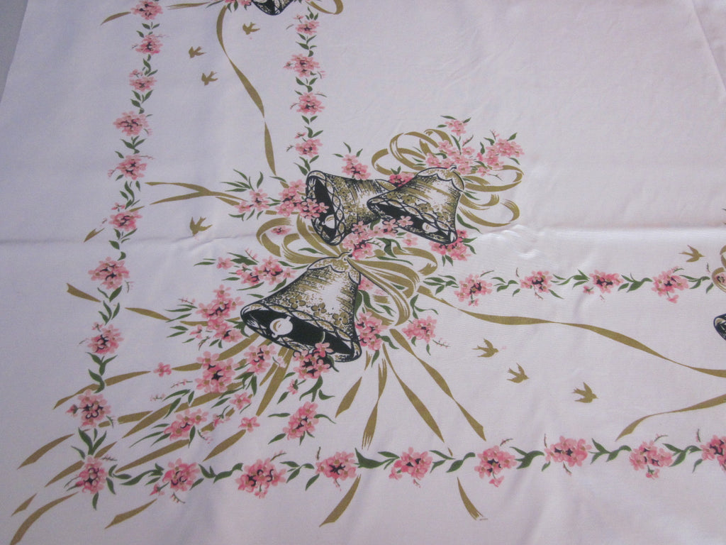 HTF CHP Pink Wedding Shower Bells Napkins Novelty Vintage Printed Tablecloth (53 X 48)