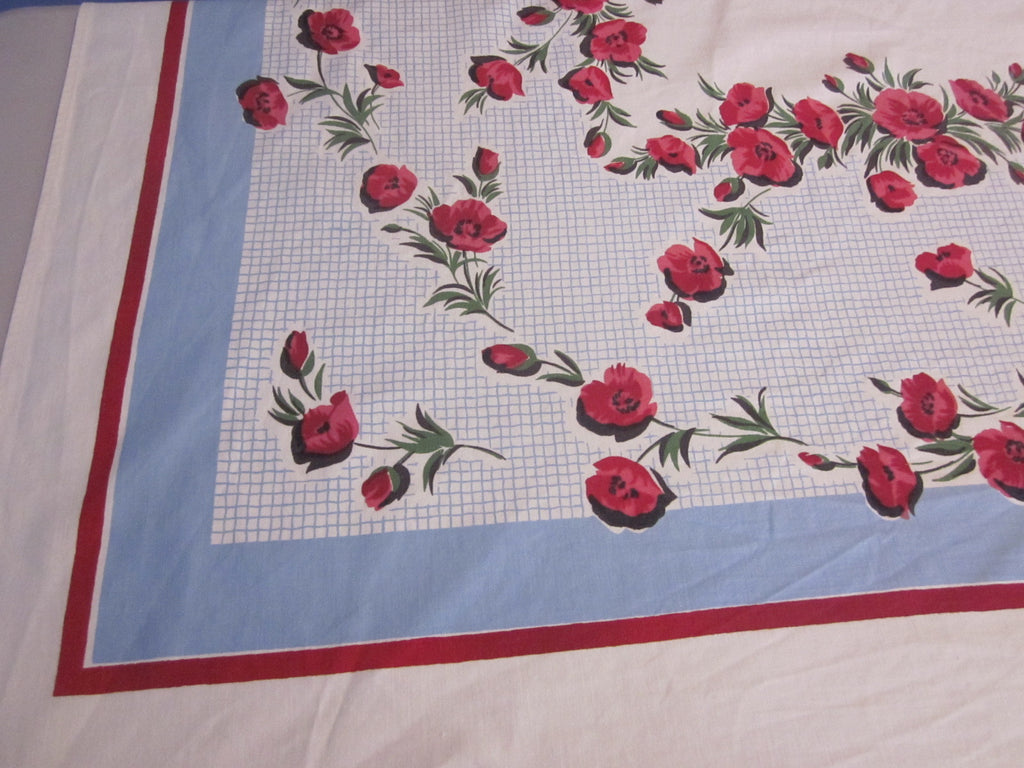 Red Green Poppies on Blue Floral Vintage Printed Tablecloth (64 X 52)