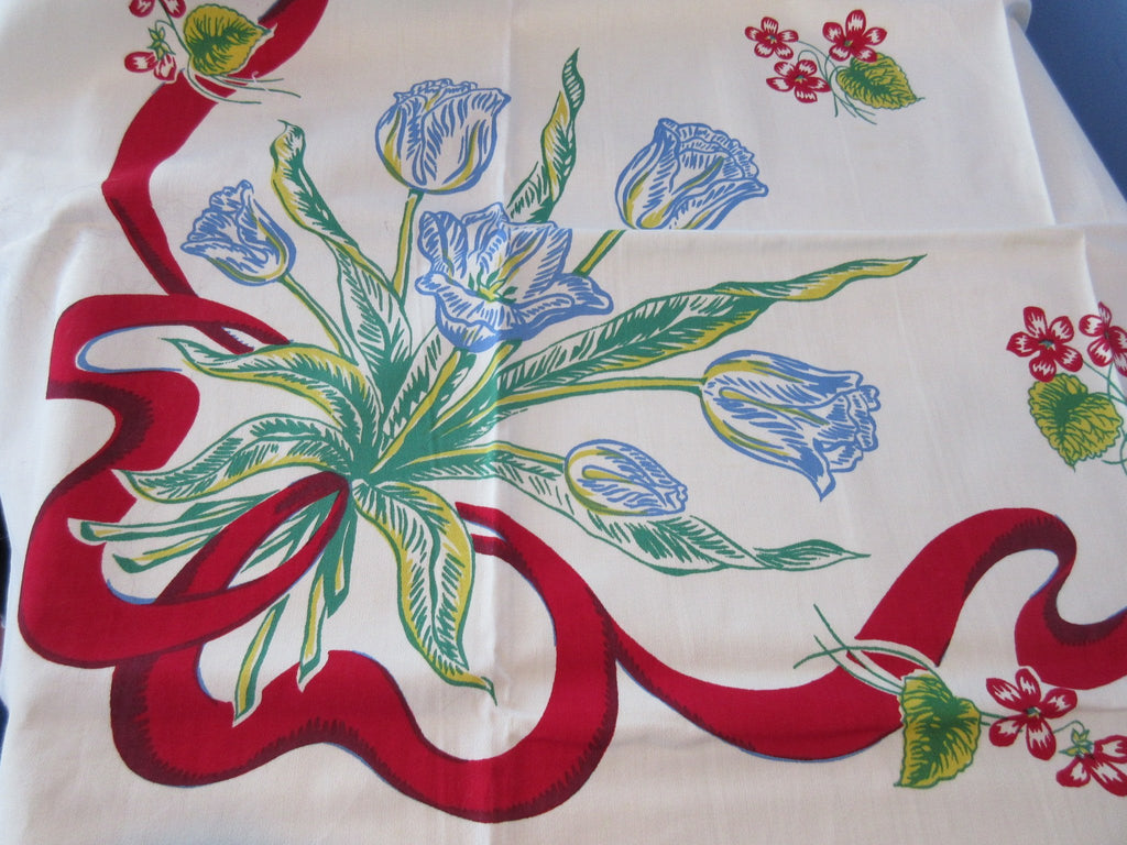 Primary Tulips and Ribbons MWT Floral Vintage Printed Tablecloth (51 X 51)
