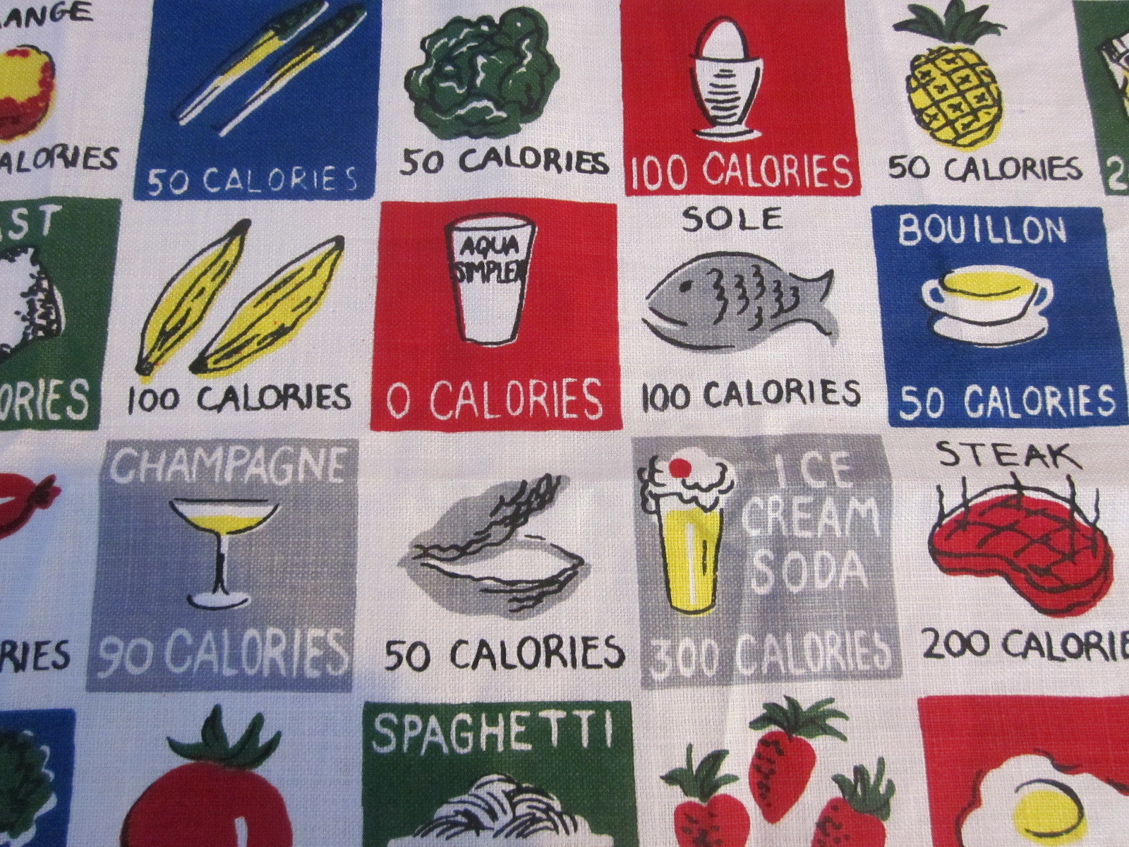 Unwashed Linen Calories Novelty Vintage Printed Tablecloth (52 X 50)