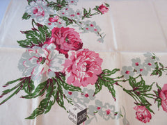 Fabulous Pink Peonies Leacock MWT Floral Vintage Printed Tablecloth (51 X 51)