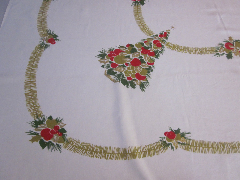 CHP Christmas Trees Primary Vintage Printed Tablecloth (53 X 51)