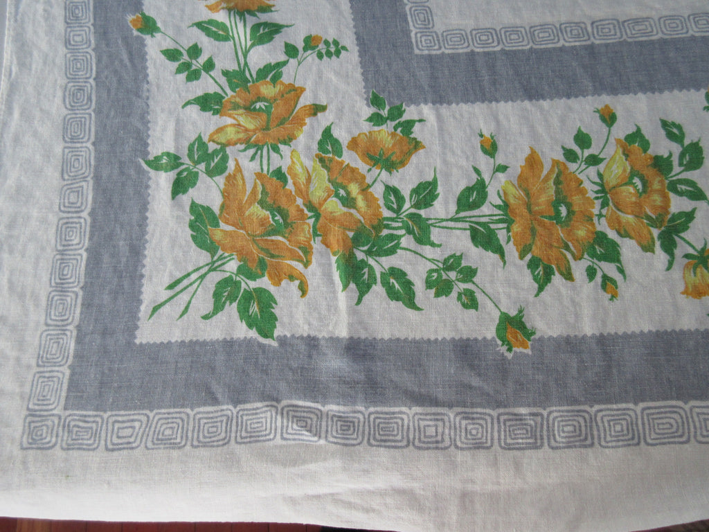 Yellow Poppies on Gray Linen Floral Vintage Printed Tablecloth (65 X 58)