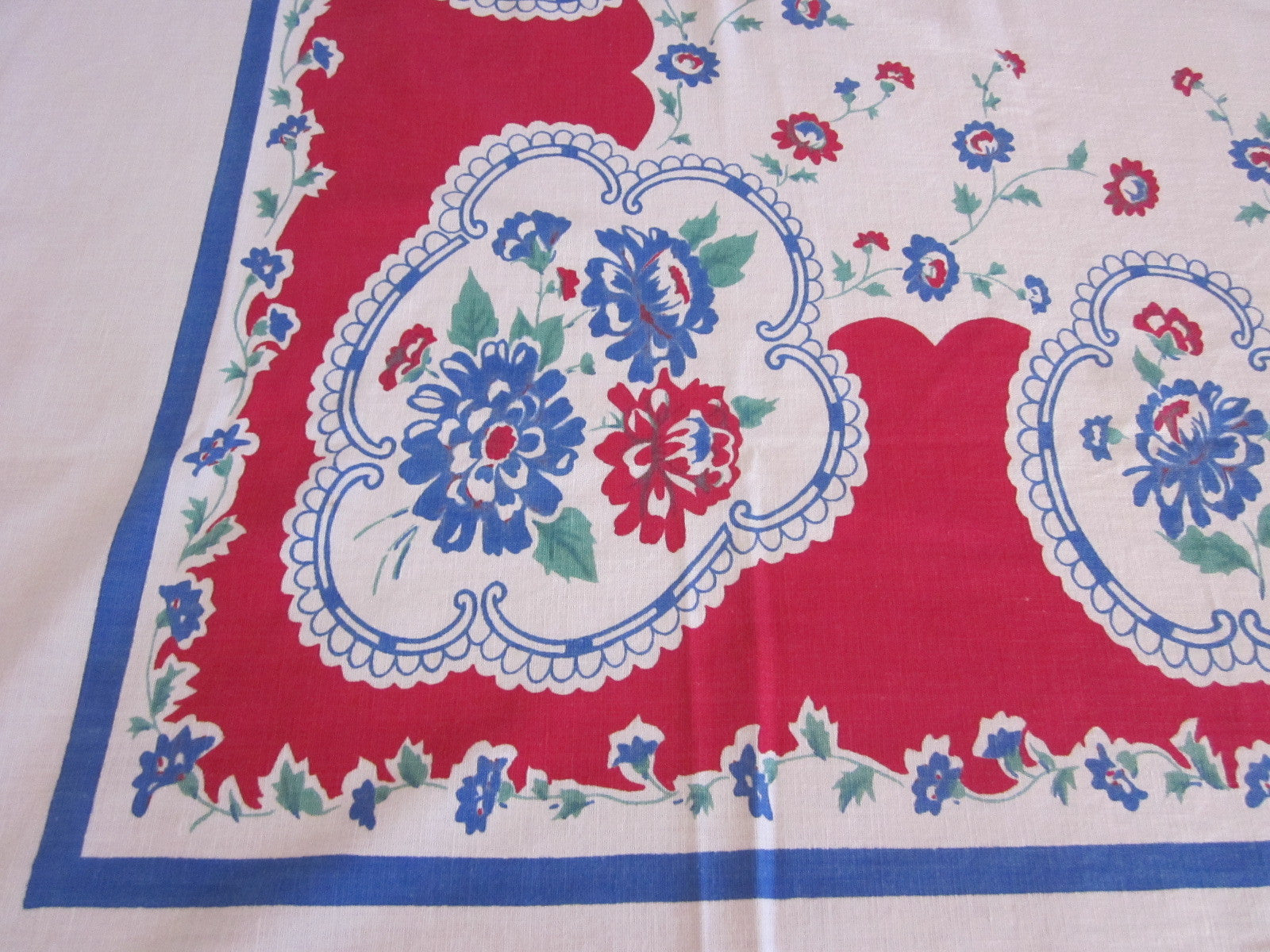 Larger Primary Red Blue Green Floral Vintage Printed Tablecloth (66 X 61)
