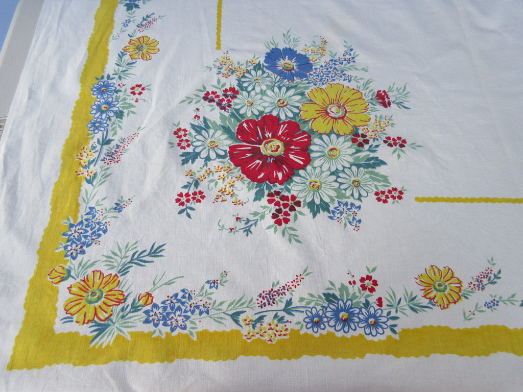 Red Blue Green Dahlias on Yellow Floral Vintage Printed Tablecloth (52 X 50)