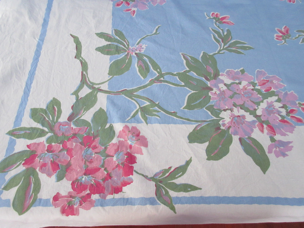 Pink Lavender Rhododendron on French Blue Floral Vintage Printed Tablecloth (53 X 48)