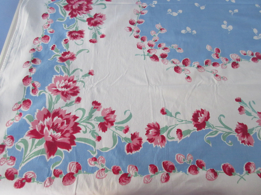 Pink Carnations Pussy Willows on  French Blue Floral Vintage Printed Tablecloth (62 X 47)