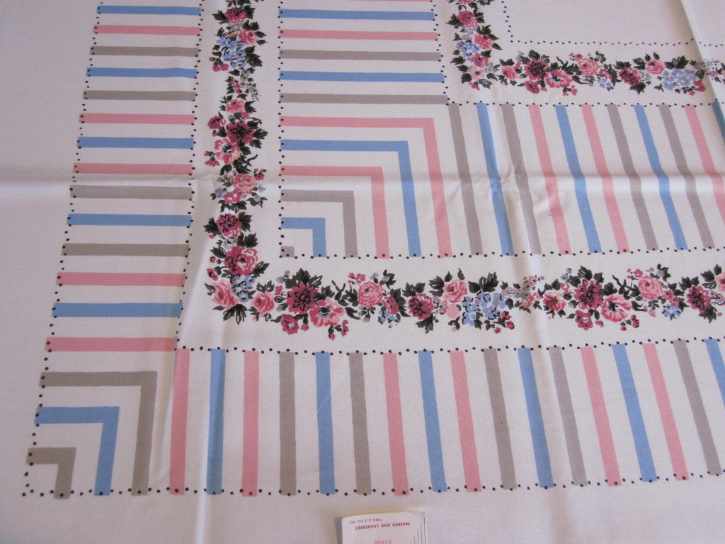 Pink Blue Pastel Stripe Floral MWT Vintage Printed Tablecloth (54 X 51)
