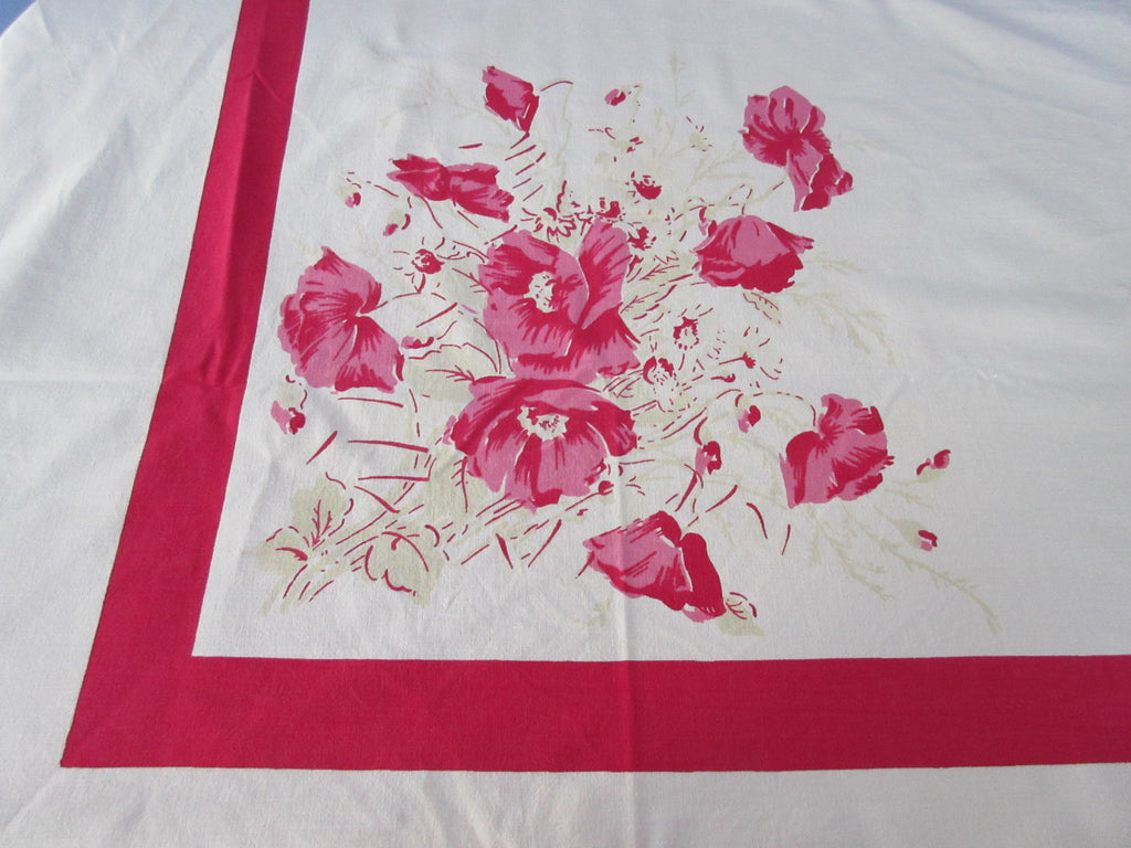 Larger Lipstick Pink Jadite Poppies Poppy Floral Vintage Printed Tablecloth (68 X 53)