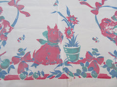 Broderie Cats Scottie Dogs Pets Topper Novelty Vintage Printed Tablecloth (41 X 38)