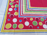 Bright Primary Polkadots Stripes on Red Novelty Vintage Printed Tablecloth (50 X 50)