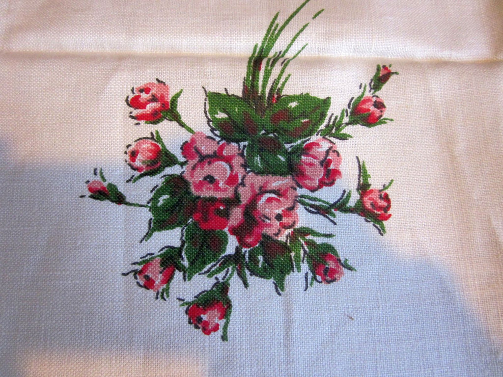 Pink Green Roses on Linen Floral MWT Vintage Printed Tablecloth (53 X 51)