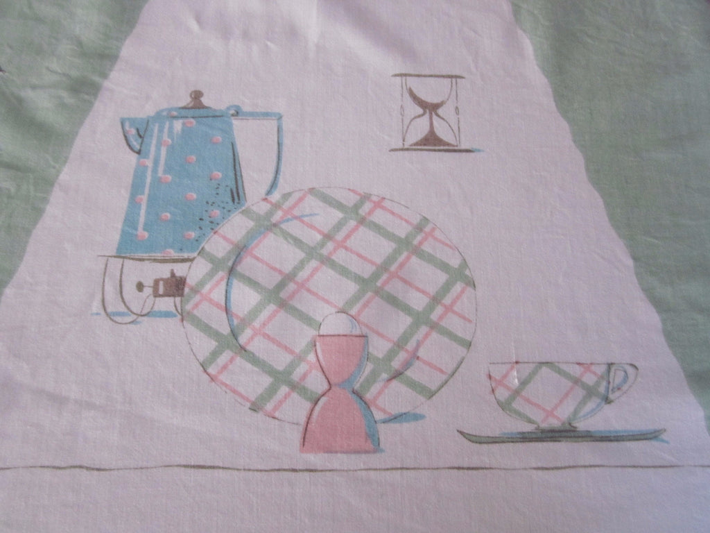 HTF Damaged Teatime Dishes Pastel Novelty Vintage Printed Tablecloth (59 X 52)