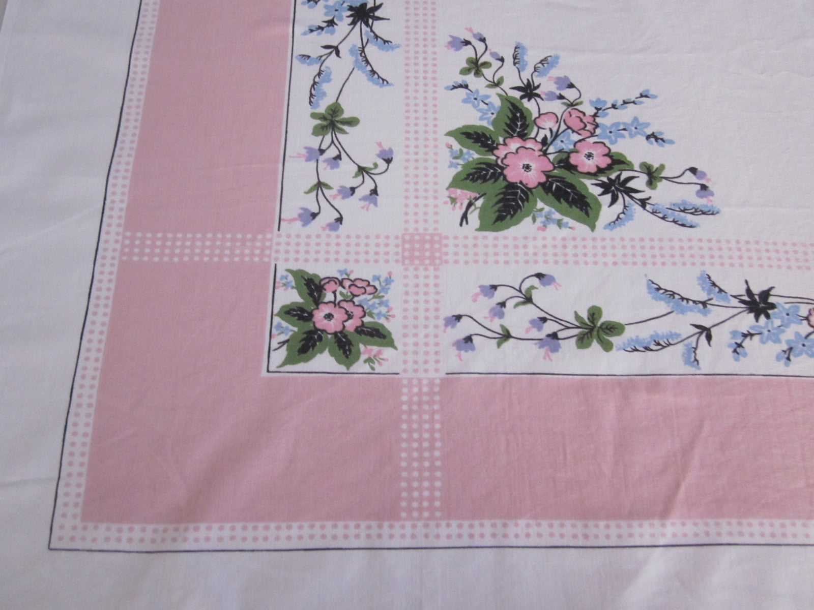 Pink Polkadot Floral Cutter? Vintage Printed Tablecloth (52 X 46)
