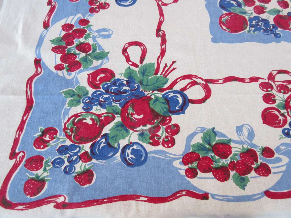 Bright Primary Fruit Ribbons on Blue Linen Vintage Printed Tablecloth (54 X 46)