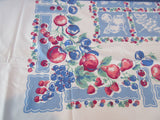 Primary Fruit on French Blue Sheeting Vintage Printed Tablecloth (57 X 56)