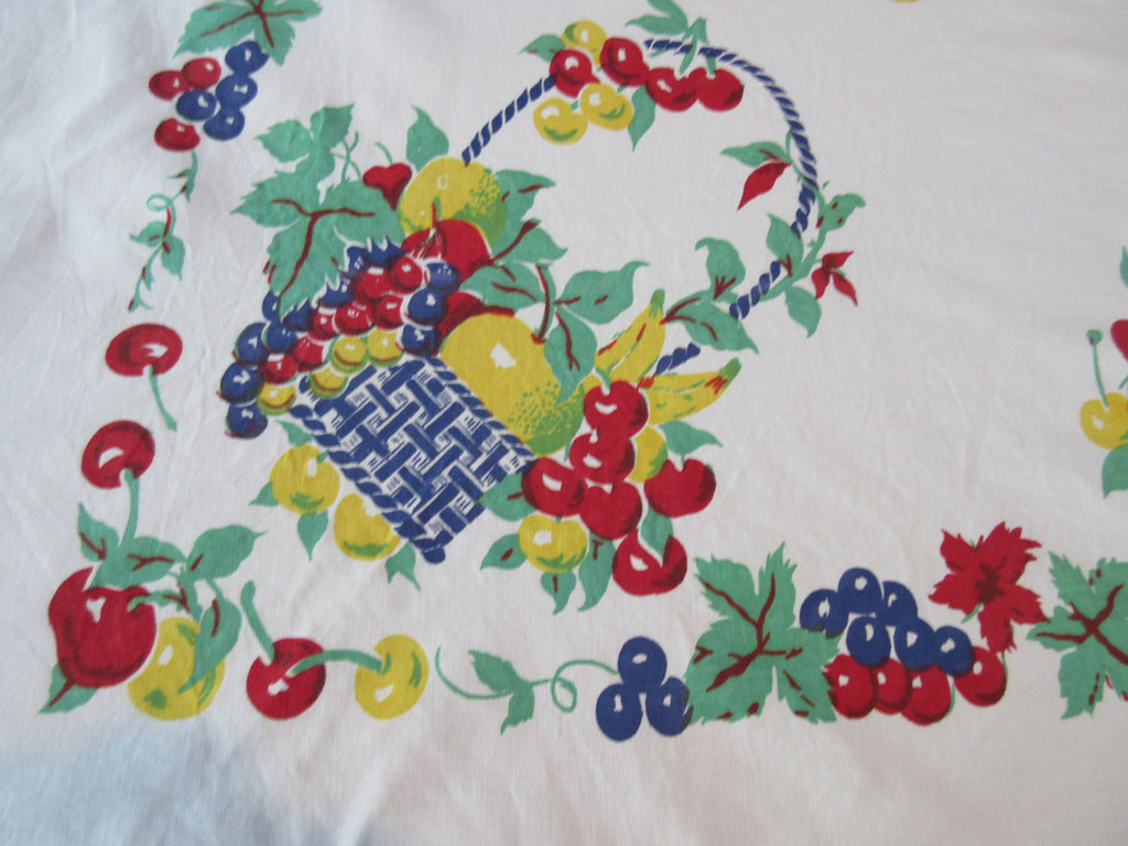 Large Primary Fruit in Cobalt Blue Baskets NWOT Vintage Printed Tablecloth (71 X 58)