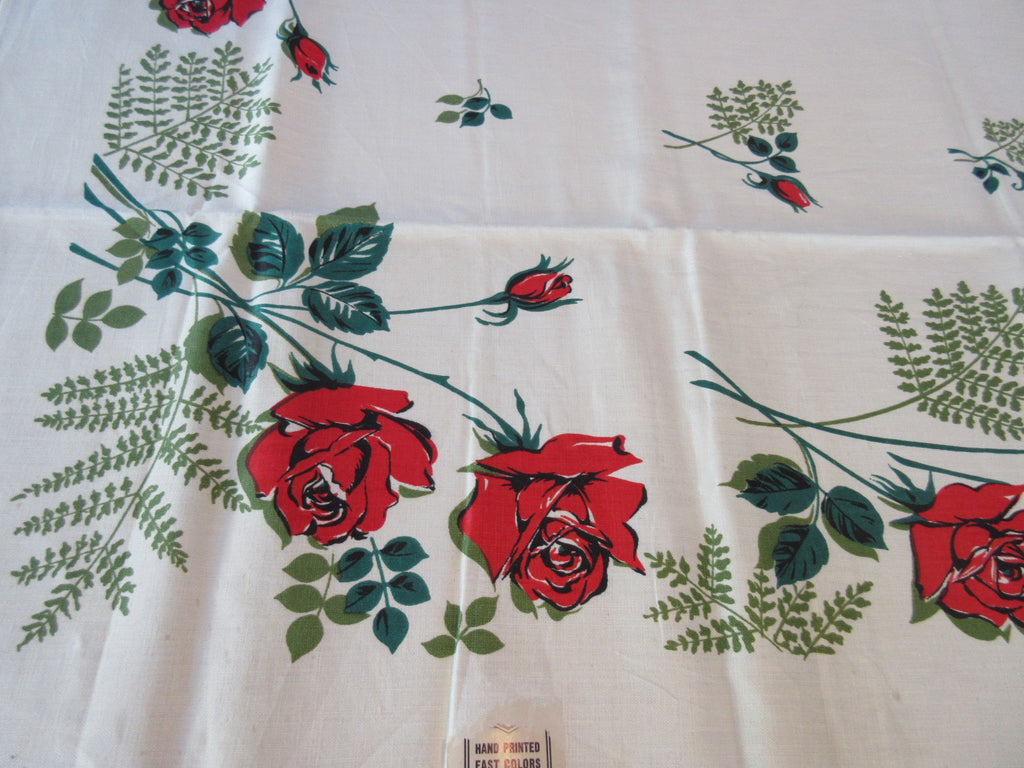 Broderie Scarlet Red Green Roses on Linen MWT Vintage Printed Tablecloth (52 X 49)