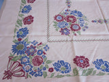 Early Blue Magenta Green Linen Floral Urns Vintage Printed Tablecloth (51 X 48)