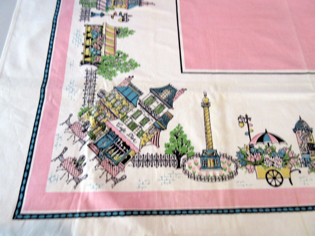 Pastel Paris on Pink Streets MWT Vintage Printed Tablecloth (49 X 48)