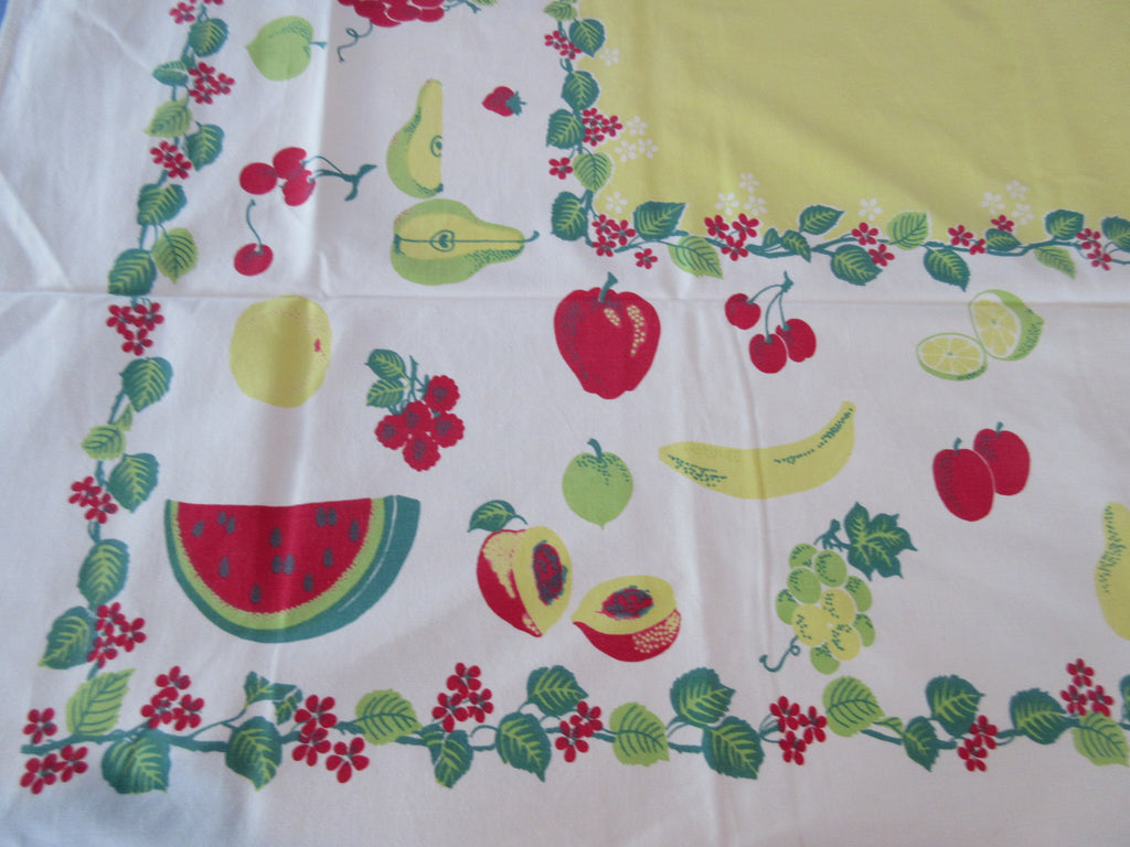 Primary Fruit Leaves on Yellow Vintage Printed Tablecloth (62 X 50)