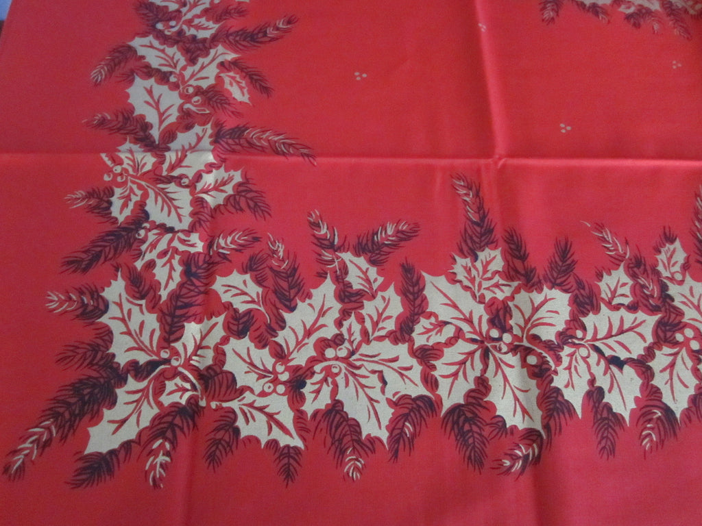 Christmas Holly on Red MWT Vintage Printed Tablecloth (68 X 51)