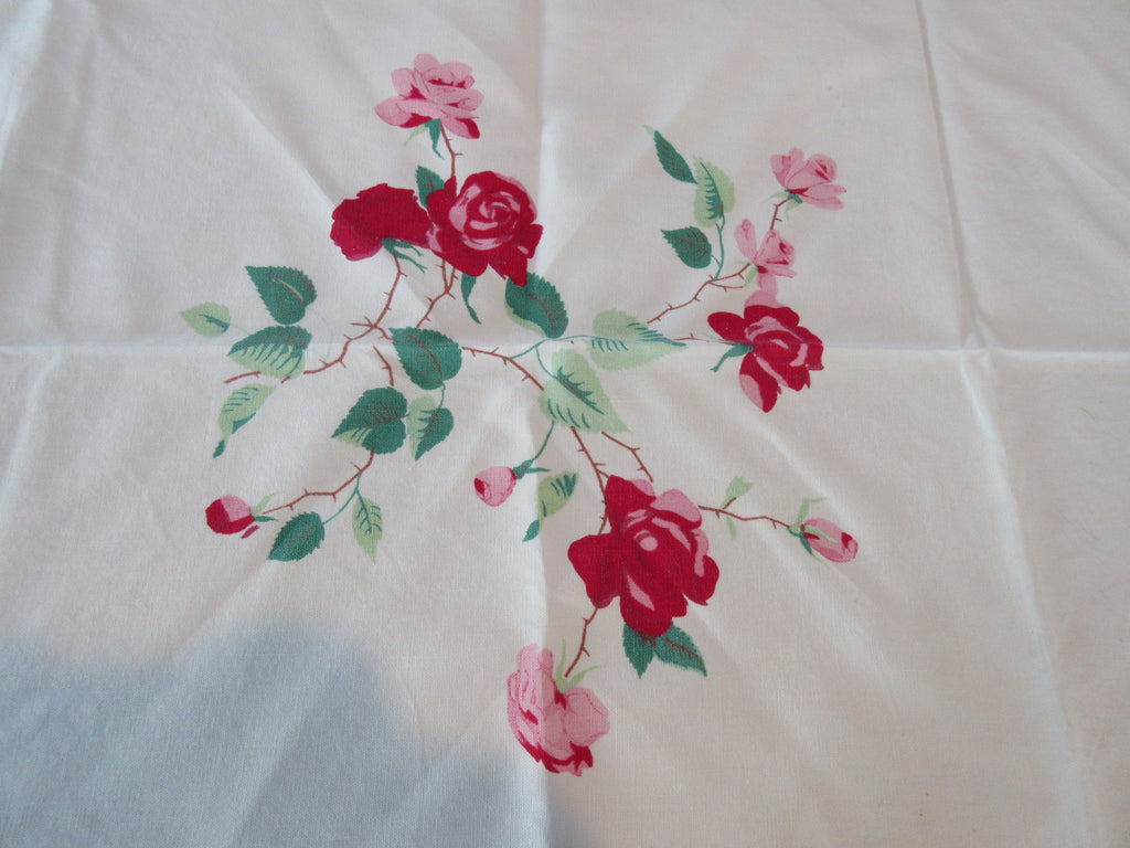 Shabby Wilendur Duchess Rose Pink Green Scallops TLC Floral Vintage Printed Tablecloth (64 X 52)