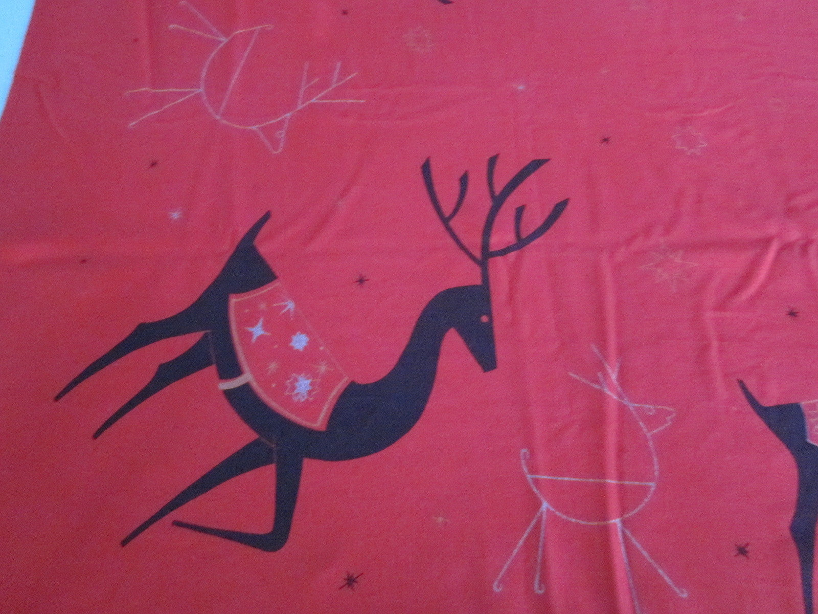 CHP Red Reindeer 2 Christmas Vintage Printed Tablecloth (65 X 52)