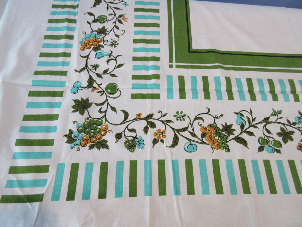 1960s Grapes and Stripes Fruit Vintage Printed Tablecloth (54 X 50)