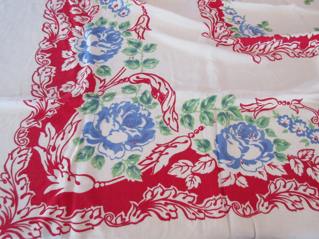 Primary Blue Green Roses on Red Rayon Floral Vintage Printed Tablecloth (54 X 42)