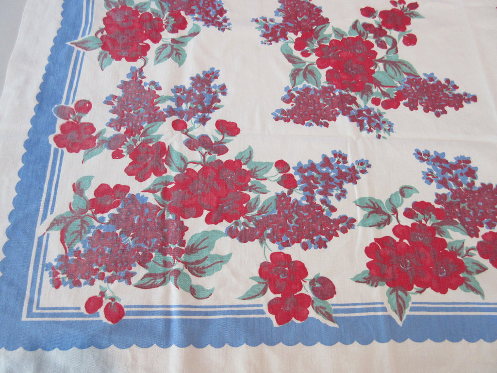 Shabby Primary Roses Lilacs on Blue Floral Vintage Printed Tablecloth (48 X 45)